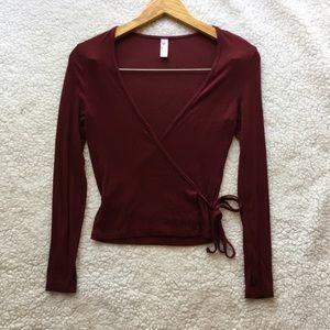 American Apparel burgundy 2x2 ribbed wrap top